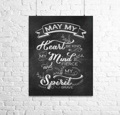 May my heart be kind...Digital Print Chalkboard Art by CavaDesign, $10.00