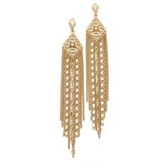 Capwell + Co. Golden Gala Earrings ($35) ❤ liked on Polyvore featuring jewelry, earrings, gold, golden jewelry, diamond shaped earrings, golden medallion, chain earrings and golden earring