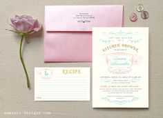 Kitchen Shower Invitation and Recipe Card by MementoDesignPaperie, $20.00