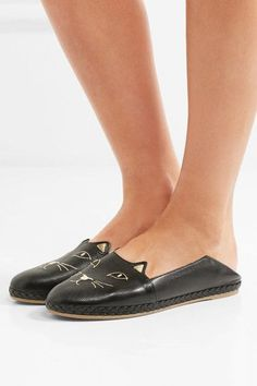 Charlotte Olympia - Kitty Embroidered Collapsible-heel Textured-leather Espadrilles - Black