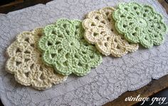 vintage grey mint and cream coasters