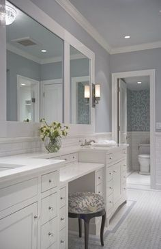 Master bath-calming blue bathroom with vanity and marble, white cabinets Diy Bathroom, Bathroom Renos, Bathroom Ideas, Bath Ideas, Bathroom Mirrors, Bathroom Remodeling, Bathroom With Makeup Vanity, Diy Mirror, Bathroom Cabinets