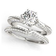 Transcendent Brilliance 14k Gold 1 1/10ct TDW Diamond Curved Band Bridal Ring Set (G, VS2) (Yellow - Size 8), Women's, Pink