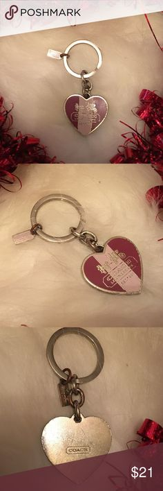💗Valentines Day💗 Coach Key Chain. Coach key chain has the Coach horse and carriage stamped in silver. Rose pink, silver and baby pink stripe down the middle.       This is used, if you want new, don't buy this one then give me a bad rating.      Bundle and save.    Need more info, just ask.   Thanks Coach Accessories Key & Card Holders
