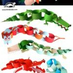 Paper DIY: Funny Creatures from Paper Chain Garlands. Tutorial by Krokotak Craft Day, Craft Projects For Kids, Diy For Kids, Alligator Crafts, Paper Chains, Diy Garland, Classroom Crafts, Preschool Art, Kindergarten
