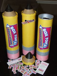 Saw this idea of making giant pencils out of pringles cans. Took it one step further and turned them into Box Tops collection bins.
