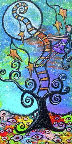 Dream Tree-Painting by Juli Cady Ryan's, Whimsical Fantasy Art