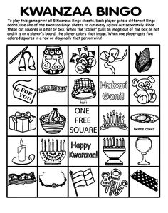 Kwanzaa Bingo Board No.1 Coloring Page - - Pinned by @PediaStaff – Please visit http://ht.ly/63sNt for all (hundreds of) our pediatric therapy pins