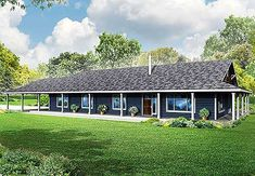 Porch House Plans, House Plans One Story, House With Porch, Best House Plans, Story House, Garage Extension, Building A Porch, Building A House, Building Plans