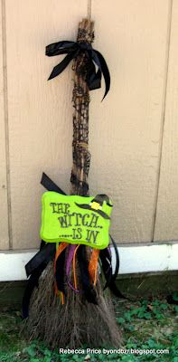 Make a witch broom for the front door!Distress to impress...: Halloween Is Coming..