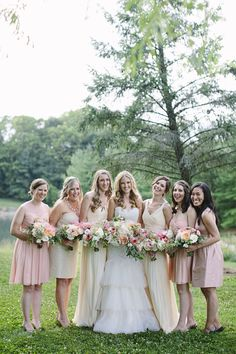 Mismatched maids in shades of #blush & ivory, plus one gorgeous #gown complete with #ruffles.   #Philadelphia #rustic #wedding   via The Styled Bride
