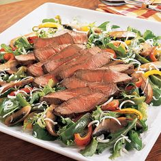 Grilled Steak & Vegetable Salad, Delicious, Dip, Appetizers, Side Dish, Football, Tailgate, Bridal, Baby, Shower, Party, Meals, Winter, Spring, Summer, Fall, Thanksgiving, Christmas, Holiday, Stoneware, Grill Pan,