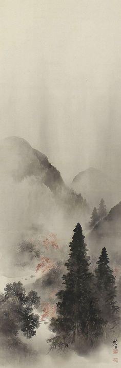 Autumn Landscape by Okutani Shuseki (1871-1936). Japanese Hanging Scroll Painting.