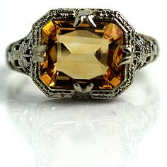 Art Deco 14 Kt  Gold Horizontal Emerald Cut Citrine Engagement Ring Circa 1930's Weddings