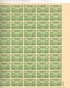 Washington & Greene Sheet of 50 x 1 Cent US Postage Stamps NEW Scot ...