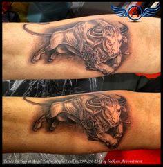Taurus Bull Tattoo Design  #taurustattoo #bulltattoo #horoscopetattoo #symboltattoo #angerybulltattoo #angeltattoostudio #indore #indoretattoostudio