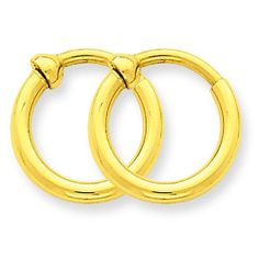 14K Yellow Gold Clip On Hoop Earrings Jewelry -- You can find more details by visiting the image link.