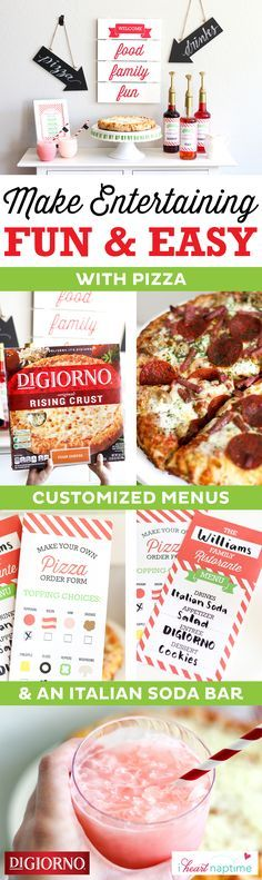Elevate family night with a pizza and Italian soda bar from @iheartnaptime Supplies: Original Rising Crust Four Cheese pizzas, toppings, printables, card stock, scissors, glue, pens, ice, syrup, half & half, club soda. 1. Print customizable menus & soda syrup labels. 2. Wrap syrup bottles in custom labels. 3. Have guests make menu selections & top pizzas with their favorite toppings. 4. Bake for about 20 minutes & make Italian sodas while pizzas are in oven. 5. Serve & enjoy!