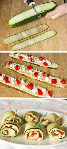rollos de pepino rellenos con queso de cabra y pimenton