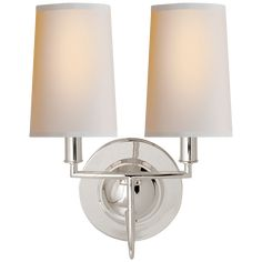 Visual Comfort Thomas O'Brien Elkins Double Sconce in Polished Silver with Natural Paper Shades Comfort & Co. Elkins Double Sconce in Polished Silver with Natural Paper Shades Product Code: Finish: Polished Silver Circa Lighting, Vanity Lighting, Home Lighting, Lighting Design, Bathroom Lighting, Outdoor Lighting, Bathroom Sconces, Wall Sconces, Bathrooms
