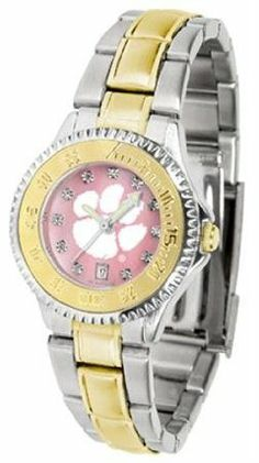 Clemson Tigers NCAA Womens Mother Of Pearl Watch by SunTime. $101.95. Showcase the hottest design in watches today! The functional rotating bezel is color-coordinated to compliment your favorite team logo. The Competitor Steel utilizes an attractive and secure stainless steel band.The hypnotic iridescence of our natural blush mother of pearl combined with the sparkling brilliance of Swarovski crystal indexes adds even more prestige to our collection of fine ladies wrist...