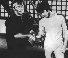 Dan Inosanto and Bruce Lee in Game of Death behind the scene.