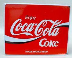 Coca Cola Emailleschild , 40 x 50 cm, 70er Jahre, Blegien Verkauf: alte Werbung und Reklameobjekte Emailleschilder Blechschilder Emailschilder Werbeschilder