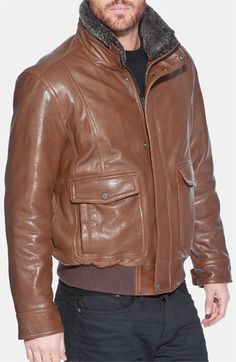 Andrew Marc 'Radar' Leather Jacket ($895), genuine shearling lines collar, rugged, motorcycle-inspired jacket pieced from full-grain, seam-detailed leather, an original look. Men's at Nordstrom.