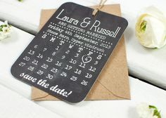 Chalkboard Calendar Save The Date - Save the Dates