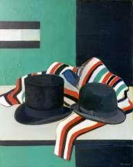 Kagie J.L., Stilleven met hoge hoed en bolhoed, olie op doek 100,1 x 80,4 cm.