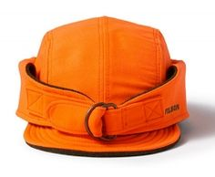 Discover the Filson Big Game Upland Hat. Blaze Orange adjustable-strap  hunting hat lined with wool. ae5f46444