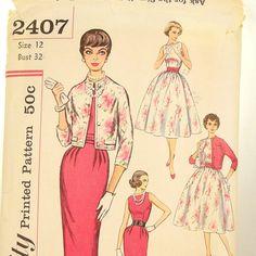 Vintage Mad Men Dress Pattern Simplicity 2407 Wiggle by Revvie1, $12.00