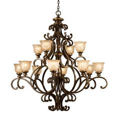 "View the Crystorama Lighting Group 7412 Norwalk 12 Light 48"" Wide 2 Tier Wrought Iron Chandelier at LightingDirect.com."