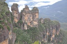 Giant rock formations called tthe Three Sisters in the Blue Mountains area of Australia