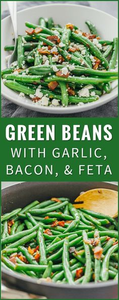 Learn how to cook garlic green beans sauteed with crispy diced bacon and crumbled feta cheese. chinese green beans recipe, steamed, spicy, saute, southern, boiled, bacon, oven, casserole, roasted, soup, fresh, recipes, crockpot, healthy via @savory_tooth