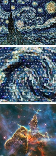 One evening when cloudy weather put a halt to his astronomy research, Harvard Ph.D. student Alex Parker was inspired to get creative -- so he uploaded the top 100 images from the Hubble telescope into a mosaic-making program and recreated Van Gogh's iconic 1889 painting.    No big deal.