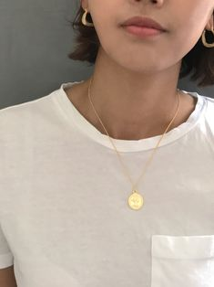Gold Elizabeth Coin Necklace /Roman Gold Coin Layering Necklace / Gift For Her /Gold Coin Necklace by arassijewelry on Etsy Gold Coin Necklace, Pearl Stud Earrings, Pearl Studs, Star Earrings, Pendant Necklace, Nickel Free Earrings, Gold Coins, Layering, Roman