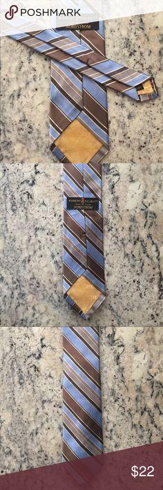 "Robert Talbott 100% Silk Best of Class Brand: Robert Talbott Color: Blue, beige, brown Measurements: 56""L 4""W Made: USA Material: Imported silk Accessories"