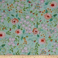 Meadow Primose Coral from @fabricdotcom  Designed by Dena Designs for Free Spirit Fabric, this cotton print collection is perfect for quilting, apparel, and home decor accents. Colors include mint green, green, orchid purple, white, pink, brown, and orange.