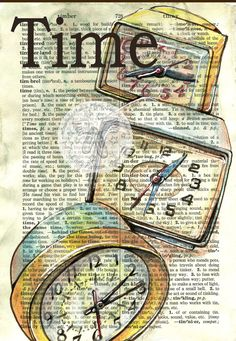 PRINT:++1960's+Alarm+Clock+Drawings+on+Dictionary+by+flyingshoes