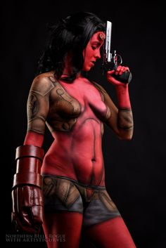 Another crossplay... this time based on Hellboy. We both ran across 's work and loved his Hellgirl concept art. Had a blast creating it in body paint with Rogue. Model - Northern Belle Rogue -&nbsp...
