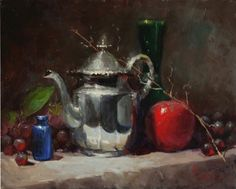 Silver with Apple of Blue Bottle by Kathy Tate Oil ~ 11 x 14