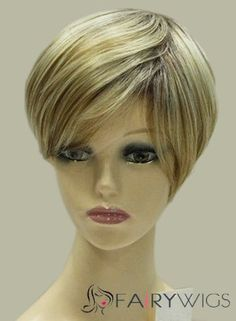 8 Inch Capless Straight Short Blonde Synthetic Hair Wigs