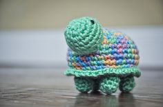 Crochet Baby Toy  Tiny the Turtle Rattle  by CuddleBugCrochet, $12.00