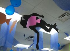 Ceiling decoration ideas for underwater VBS theme at Ocean Commotion