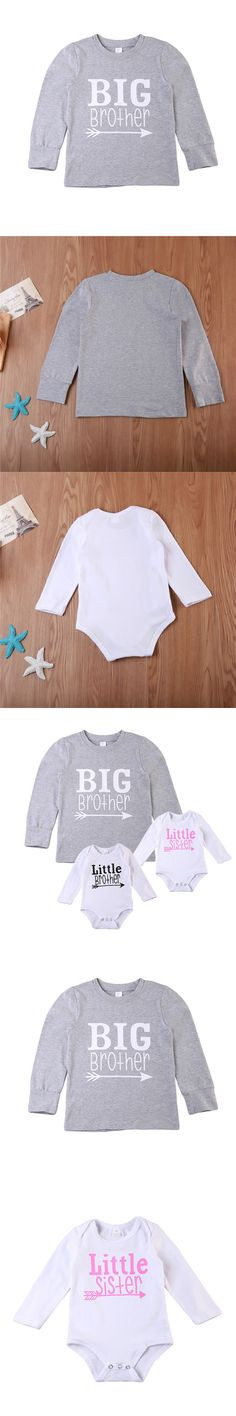 Pudcoco Matching Big Brother Long Sleeve T-shirt Tops 1-6T Little Sister Little Brother Newborn Baby Boy Girl Romper 0-18M