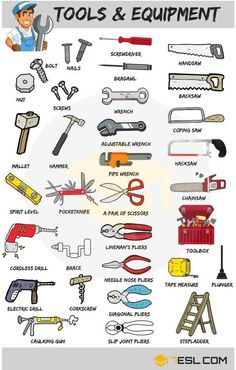 Learn Tools Vocabulary in English through Pictures and Examples. A tool is any physical item that can be used … Ucz Się Niemieckiego, Gramatyka Angielska, Angielskie Słownictwo, Hiszpański Learn English Grammar, English Writing Skills, English Language Learning, English Vocabulary Words, English Phrases, Learn English Words, English Study, English Lessons, Teaching English