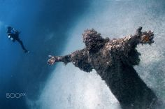 Jesus Marine - Underwater on the sea bed near the shores of Malta in the Meditteranean stands a three metre tall, 13 ton statue of Jesus. Maltese sculptor Alfred Camilleri Cauchi was commissioned to commemorate the 1990 visit of Pope John Paul II to Malta. After being blessed by His Holiness, the statue was placed on the seabed near St Paul's Islands as an attraction for divers.