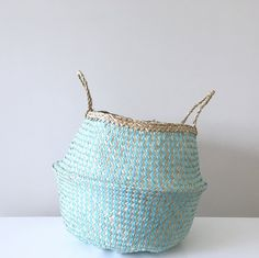 Aqua Seagrass Belly Basket ::: Sunkissed Styling ::: Available online ::: www.seasunandsoul.com