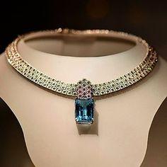 Vintage Lovely Diamond Choker with large Blue Topaz pendant.